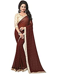 Amazon Saree Self Designer Georgette Brown 5.5+0.80mtr Simple Golden Border With Pari Work Beautiful Causal Wear...