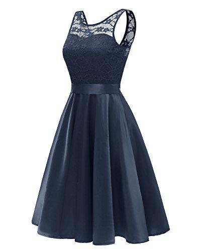 Misshow Spitzenkleid Damen Satin Knielang Rockabilly Kleider Abschlusskleider Kurz(Dunkelblau 2XL)