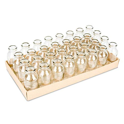 NaDeco Glasfläschchen 32 Stück ca. 10,5x4,8cm | Glasfläschchen | Dekoflaschen | Glas Flaschen | Deko Flaschen Vintage | Kleine Deko Vasen | Kleine Flaschen | kleine Deko Milchflaschen