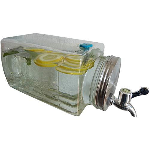 Getränkespender für Kühlschrank 3 Liter aus Glas | mit Zapfhahn | Wasserspender | Limonadenspender | Saftspender | Bowle | Dispenser