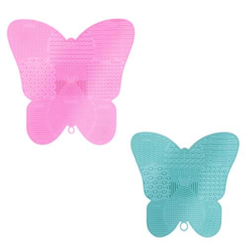 X-Mile 2 Stück Makeup Pinsel Reiniger Reinigungs-Matte Silikon Mit Saugnapf Butterfly Shape Make-up...