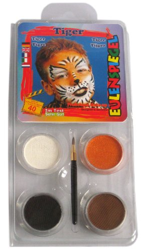 Eulenspiegel 204047 Schminkset Tiger, Pinsel und Anleitung, 4 Farben
