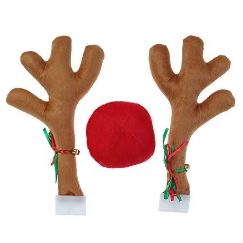 BESTOYARD Rentier Auto Kostüm mit Geweih Nase Weihnachten Auto Deko (Khaki)
