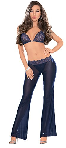 Escante Women s Lace and Mesh Triangle Bra Top Pant Set with Jewel Accent cc7db7f71