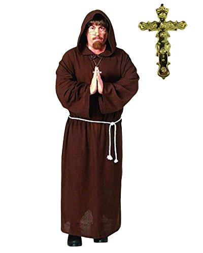 Erwachsene Herren Mönch Kostüm Friar Tuck Priester Verkleidung Kostümparty