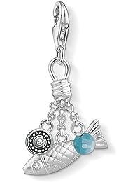 Thomas Sabo Women-Charm Pendant Sneaker Charm Club 925 Sterling Silver Zirconia white light blue 1227-691-7