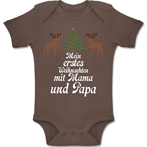 en Baby - Ugly Sweater - Mein erstes Weinachten - 6-12 Monate - Braun - BZ10 - Baby Body Kurzarm Jungen Mädchen ()