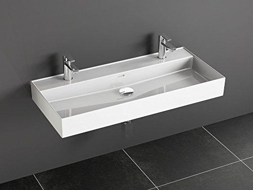 Aqua Bagno Loft Air cerámica doble lavabo 100cm Doble lavabo lavabo