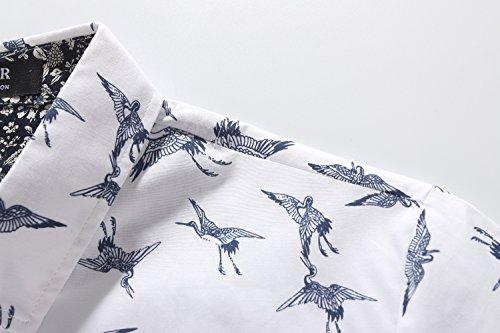 SSLR Homme Chemise Casual Manches Courtes Imprimée Oiseaux Blanc