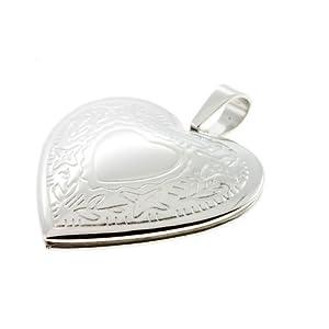 Medaillon Amulett aufklappbar für 2 Fotos Herz Anhänger Edelstahl me23641 Gratis Gravur