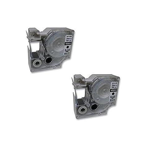 NON OEM 2 x Dymo D1 45803 Beschriftungsband (schwarz auf weiß) für DYMO2000, 3500, 5500, LabelManager 100, 160, 200, 210D, 220P, 260P, 280 PnP, 300, 350, 350D, 360D, 400, 420P, 450, 450D, 500TS, PC, PC II, PnP Wireless, LabelPoint 150, 250, 300, 350, LabelWriter 400 Duo, 450 Duo Etikettendrucker