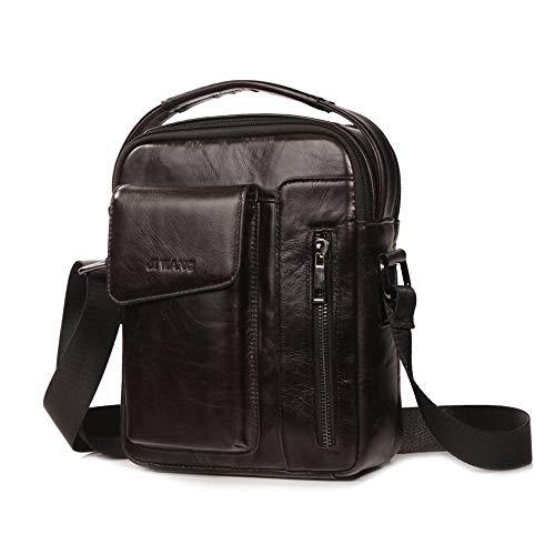 etasche, Umhängetasche, klein, echtes Leder, für Herren, Messenger Handtasche, Business Aktentasche, Büro, Arbeitstasche mit Griff oben für iPad Mini ()