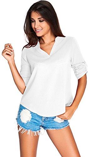 Sexy Manches Longues Rolled Manches Rétroussées Stand Col Encolure Profonde Col En V Ourlet Incurvé Mousseline Blouse Chemisier Shirt Chemise Haut Top Blanc