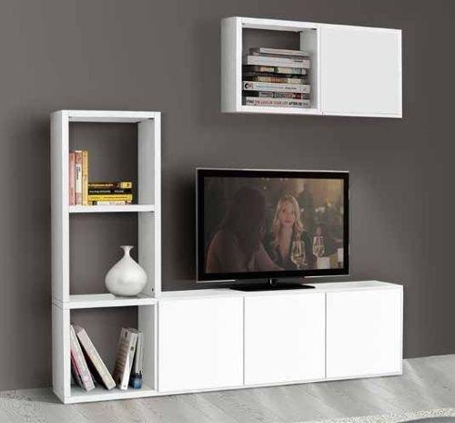 Legno&Design Porte TV, Bibliothèque séjour Blanc frassinato 8 éléments 4 Portes