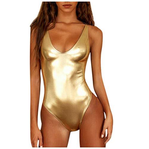 DedSecQAQ Mujer Brillante Metálico Dos Uno Pedazo Trajes de baño Bikini Baños Traje Chaleco Traje...