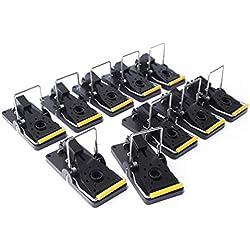 ProfessionalTree® Set de 10 trampas para Ratones, trampas de Cebo, trampas - Eliminación Segura e higiénica de Ratones - Control de plagas - Plástico Color Negro