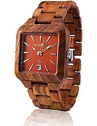 Tiempo Reloj de madera madera/Bewell lichten Berg/100% madera de sándalo/Producto natural/antialérgico/SOSTENIBLE/Cómodo.