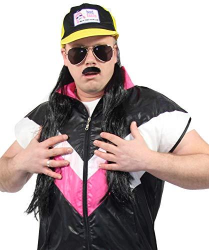 (Foxxeo 80er Jahre Trucker Baseball Cap mit Vokuhila Haaren zum Bad Taste Redneck Kostüm)