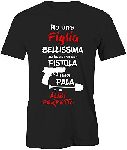 Puzzletee maglietta festa del papa' ho una figlia bellissima ma anche un alibi perfetto - t-shirt divertente uomo