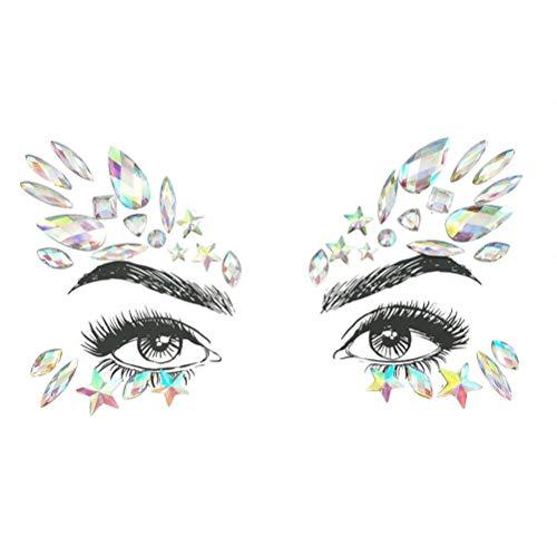 fkleber-Gesicht Edelsteine Klebstoff Glitter Jewel Tattoo Hochzeit Festival Rave Party Body Make Up, Wear FüR Festivals Theme Parties Halloween Einfach SchäLen Und Stick ()