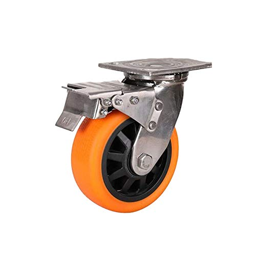 MuMa 4/5/6/8 Inch Swivel Caster Rad Mit Top Platte Nylon Orange Rädern Schwerlast Industrielles Universalrad (Color : Brake, Size : 4 inches) - Caster Swivel