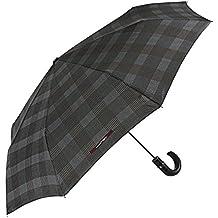 Paraguas Hombre Plegable Maison Perletti - Apertura Automática - Elegante Paraguas Mini con Mango de Piel