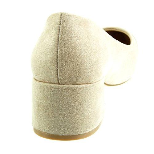 Angkorly - Scarpe da Moda scarpe decollete bi-materiale decollete donna Tacco a blocco tacco alto 4.5 CM Beige