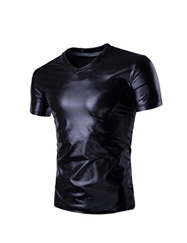 Bestgift Herren V-neck Tee Faux Leder Optik Metallic Glanz T-Shirt Schwarz