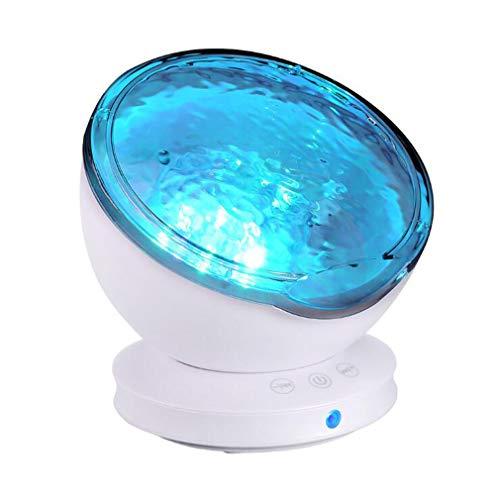 CJB18 Ocean Wave Projektor Nachtlicht, 7 Farbwechsel-Modi und 6 Nachtlichter mit natürlichem Klang mit Mini-Lautsprecher-Musik-Player-Funktion für Kinder Baby Kinderzimmer Schlafzimmer,White