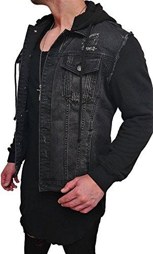 Kapuzen Jeansjacke Denim Jeans Jacke Kapuzenjacke Hoodie Herren Grau black biker motorrad Designer Blouson Sweat men leather flieger wende piloten jacket black slim fit NEU New (M, Schwarz)