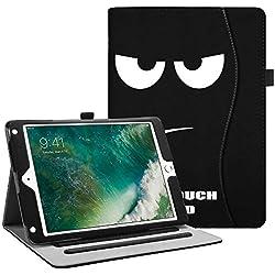 FINTIE Coque pour iPad 9.7 2018 2017 / iPad Air 2 / iPad Air - [Protection d'angle] Multi Angles Folio Stand Housse étui Case Cover avec Pocket et Fonction Sommeil/Réveil Automatique, Don't Touch