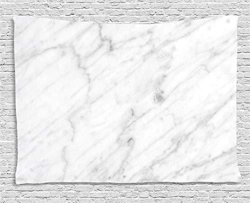 ABAKUHAUS Marmor Wandteppich, Carrara organische Fliese, Wohnzimmer Schlafzimmer Heim Seidiges Satin Wandteppich, 150 x 100 cm, Weiß Grau Sand