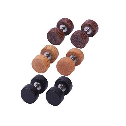 Ohrstecker, 8 mm, mit Holz, falsche Ohrlochdehner, 3Paare
