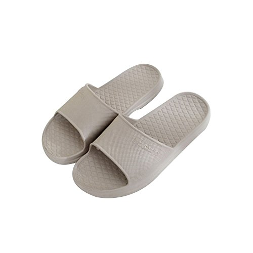 TELLW Solid Couleur Velours Corail Épaississement Chaud Plancher en Bois Pantoufles DHiver et en Plein Air Coton-Aimant les Femmes et les Pantoufles des Hommes Gris