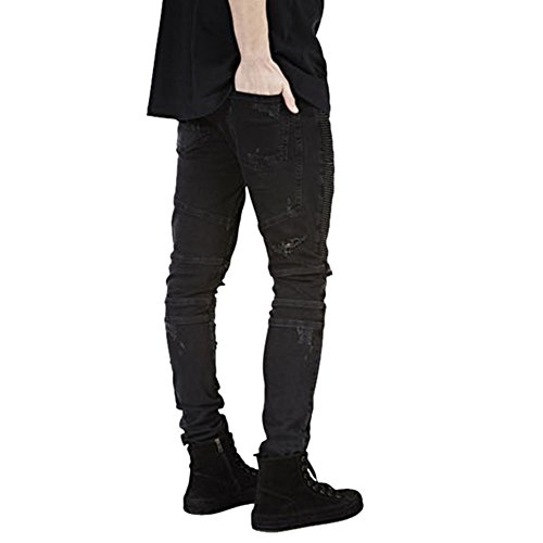 Bold Manner Herren Slim Leg Jeanshose Schwarz