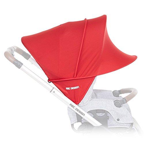 ABC Design Sonnensegel / Sonnendach, Sonnenverdeck, Sonnenschutz mit UV-Schutz 50+ für Kinderwagen und Buggys / Cranberry / praktische Sonnenschirm Alternative