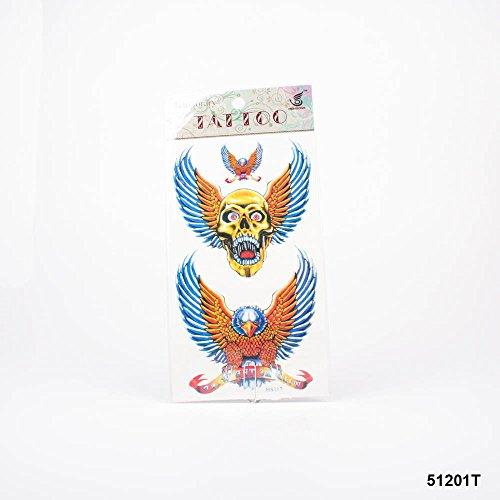 Tattoos goldenes Totenkopfschädel mit Flügeln, blau-goldene Adler mit Banner und Schriftzug 'wild as the wind'