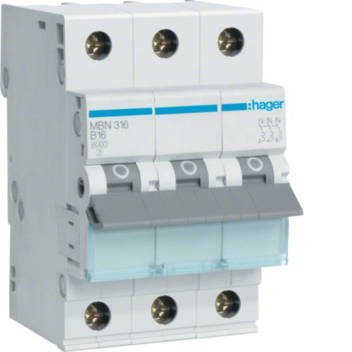 Hager MBN316 Leitungsschutzschalter 3 polig 6kA B-Charakteristik 16A 3 Module