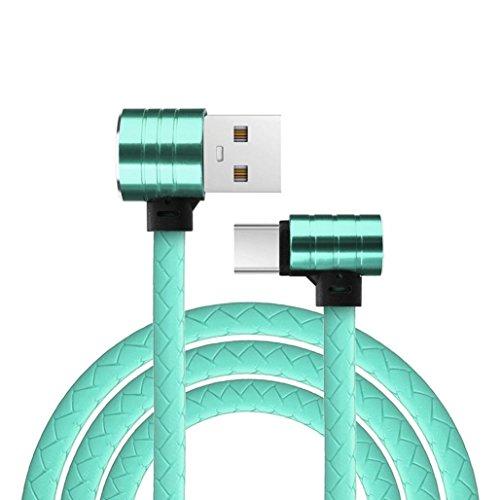 Preisvergleich Produktbild Voberry Datum Kabel,  L Form 90 Grad 1M Micro USB Typ C Lade Daten Schnellladegerät für Samsung S8 (Mint Grün)