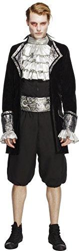 Fever Herren Barock Vampir Kostüm, Jacke, Hose, Krawatte und Kummerbund, Größe: M, 28332