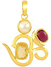 3.25 Ratti Pukhraj, Ruby And Pearl Pendant In Panchdhatu Metal With Gold Plated