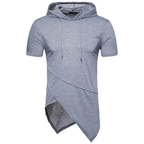 Yooshen Herren T-Shirts Mit Kapuze Basic Shirt Rundhalsausschnitt Hip Hop Einfarbig Slim Fit Bluse Baumwolle Top Bluse Mode Blusen Streetwear Sommerkleidung Unregelmäßiger Saum Tops (L, Grau)