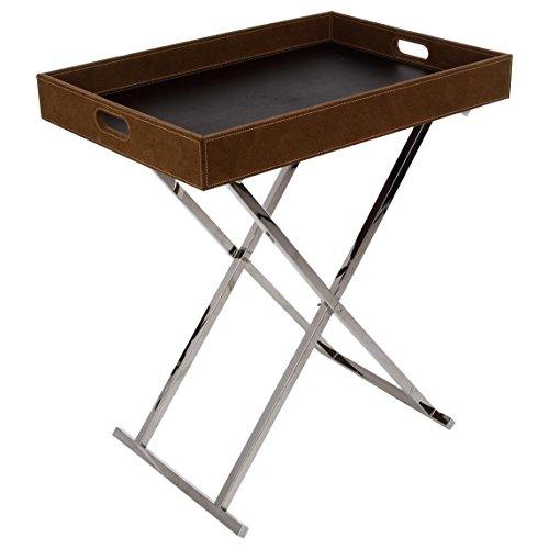 2 in 1: Tavolino da caffè e vassoio in tessuto effetto pelle scamosciata - Stile (Pelle Appartamento Divano)