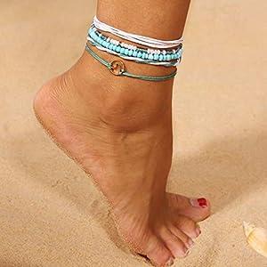 Fivekim Armbänder für Damen Fußkette Bohemia Vintage Style Ethnic Multi Layer Perlen Schmuck Barefoot Beach