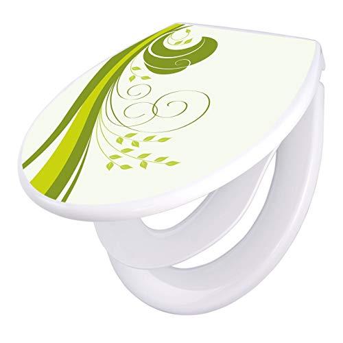 banjado Familien WC Sitz mit Absenkautomatik | Toilettendeckel mit Kindersitz | Klodeckel weiß | Toilettensitz mit Soft Close | 44 x 37 cm WC Deckel mit Motiv Green Swirl