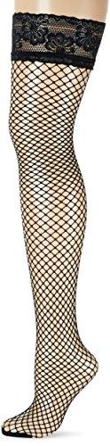 GLAMORY Damen Fischnetz Halterlose Netzstrümpfe Mesh, Schwarz (Schwarz), XXXX-Large (Herstellergröße: 4XL-(60-62)) - Damen Fischnetz