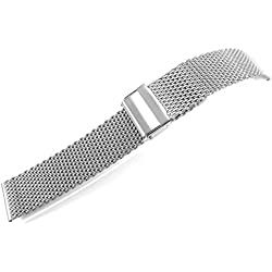 JRRS7777 24mm Stainless Steel Watch Mesh Bracelet New Wristband 1.0mm Wire Titanium Brushed Satin