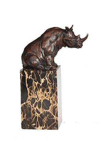 Toperkin Bronze Statuen Tier Skulpturen African Rhino Statue Marble Base Collection TPAL-279