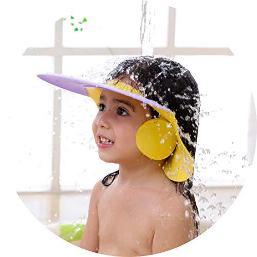 WYTartist Baby Duschhaube Kinder Dusch Badekappe Verstellbarer Kinder Baden Shampoo Kappe Haarewaschen Kopfschutz Bad Duschhaube Klettverschluss Älteren Menschen Duschhut (Violett)
