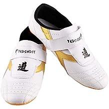 Dilwe Zapatos de Taekwondo Zapatos de Suela Suave de Cuero de PU para Ejercicio de Gimnasio